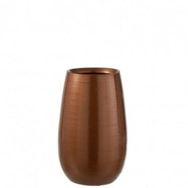 Vase Brillant Ceramique Orange/Or Taille S
