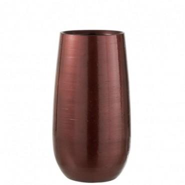Vase Brillant Ceramique Rouge/Or Taille L
