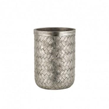 Vase Tresse Resine Argent Taille L