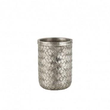 Vase Tresse Resine Argent Taille M