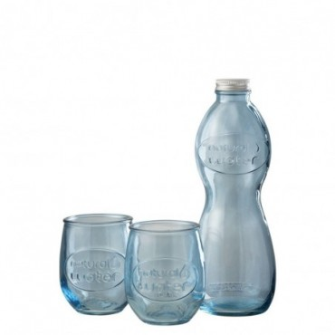 Boite Bouteille + 2 Verres Natural Water Verre Bleu Clair