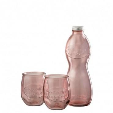 Boite Bouteille + 2 Verres Natural Water Verre Rose Saumon