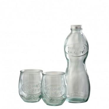 Boite Bouteille + 2 Verres Natural Water Verre Transparent