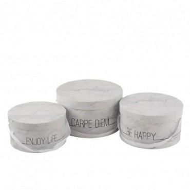 Set De 3 Boite Marbre Basse Enjoy Blanc/Argent