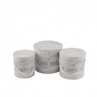 Set De 3 Boite Marbre Haute Enjoy Blanc/Argent