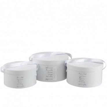 Set De 3 Boite Ronde Fleurs Papier Blanc/Argent