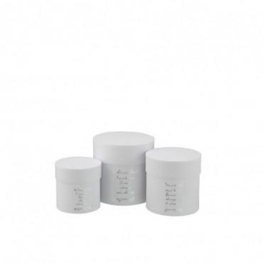 Set De 3 Boite Ronde Haute Fleurs Papier Blanc/Argent