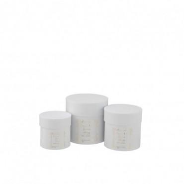 Set De 3 Boite Ronde Haute Fleurs Papier Blanc/Or
