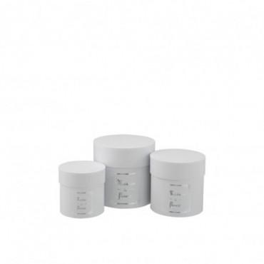 Set De 3 Boite Ronde Haute Maison Papier Blanc/Argent