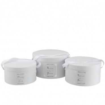 Set De 3 Boite Ronde Maison Papier Blanc/Argent
