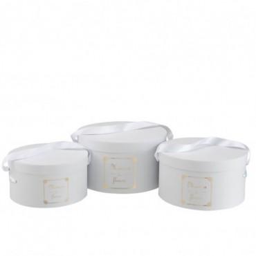 Set De 3 Boite Ronde Maison Papier Blanc/Or