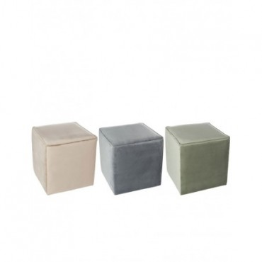 Pouf Carre Velours Mix Assortiment De 3