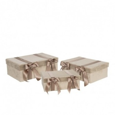 Set De 3 Boite Velours/Satin Beige