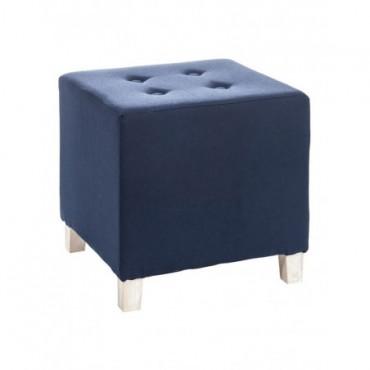 Pouf Carre Bouton Coton Bois Bleu