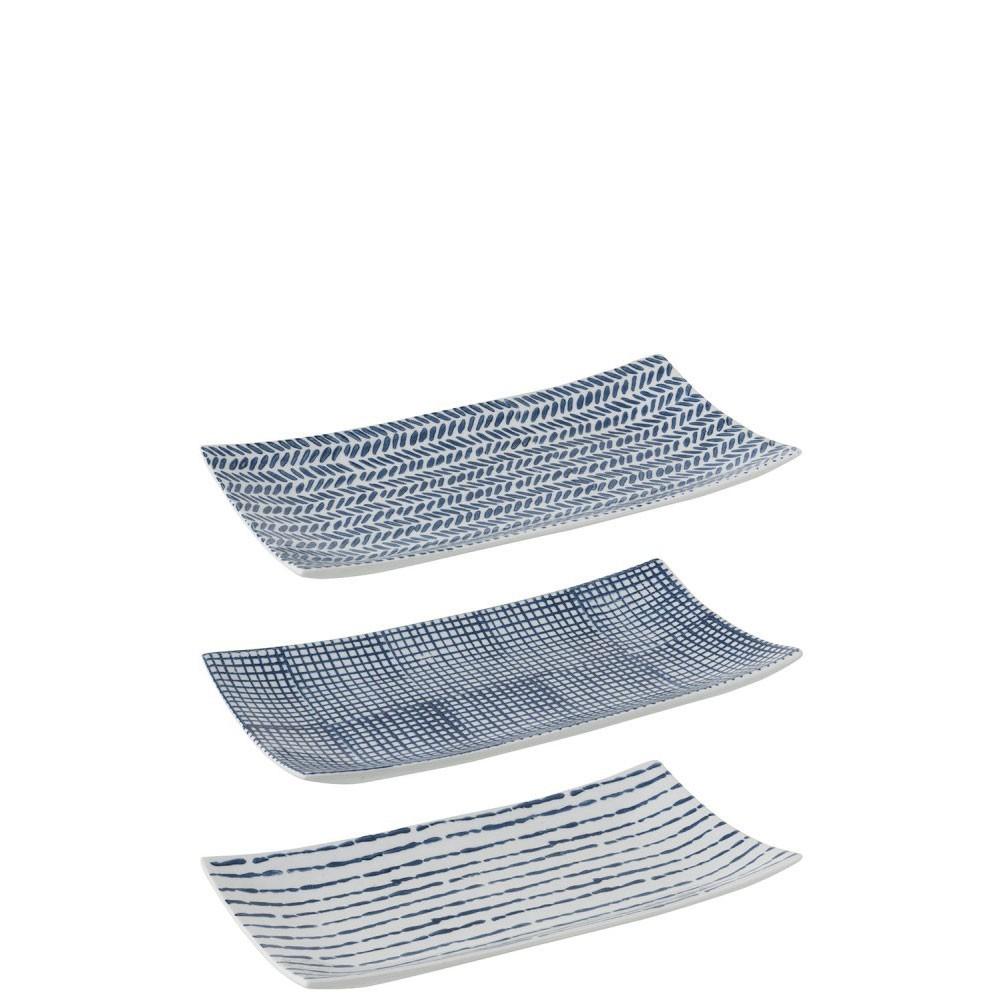 Plat Imprimes Porcelaine Bleu/Blanc
