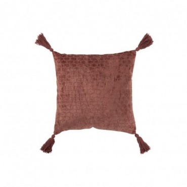 Coussin Motifs Coton Terracotta Rouge