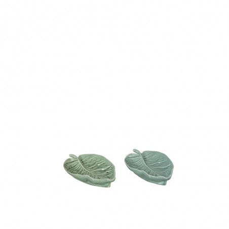 Plat Feuille Porcelaine Vert Clair/Fonce Small