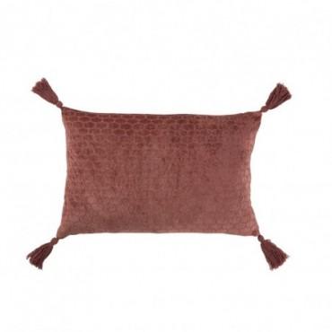 Coussin Motifs Rectangulaire Coton Terracotta Rouge