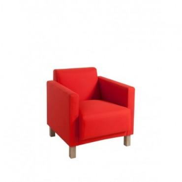 Fauteuil 1 Personne Polyester Rouge bois naturel