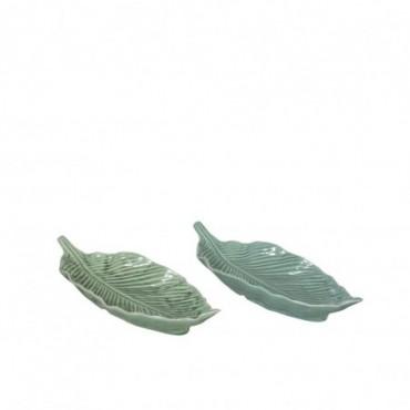 Plat Feuille Porcelaine Vert Clair/Fonce Medium