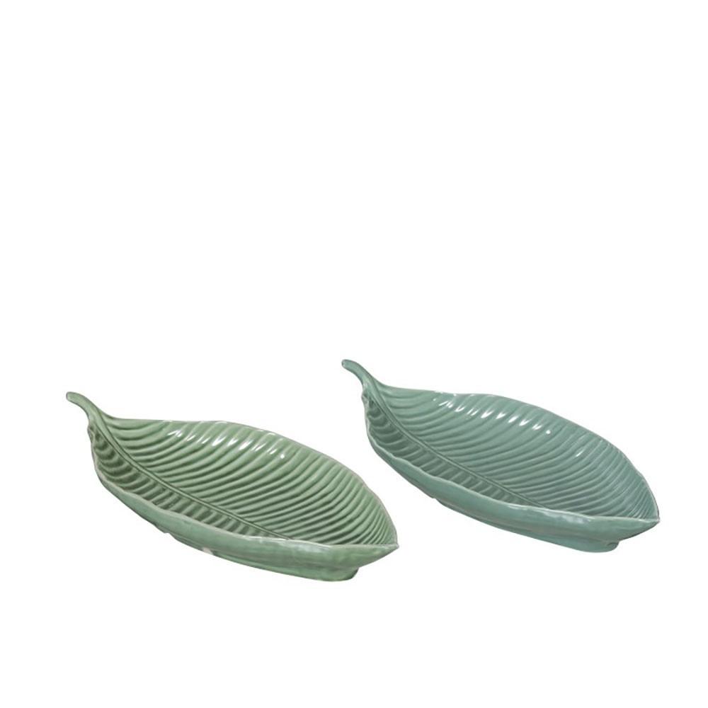 Plat Feuille Porcelaine Vert Clair/Fonce Large
