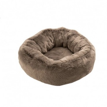 Panier Chat Rond Polyester Taupe