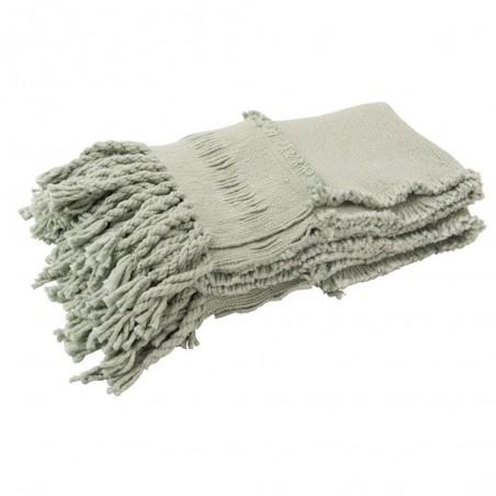 Plaid Pompons Coton Menthe