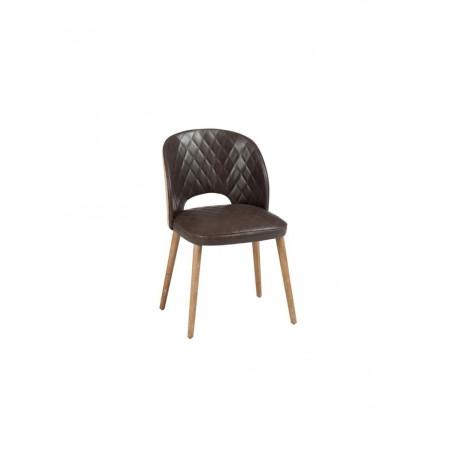 Chaise cuir Marron Jute bois naturel