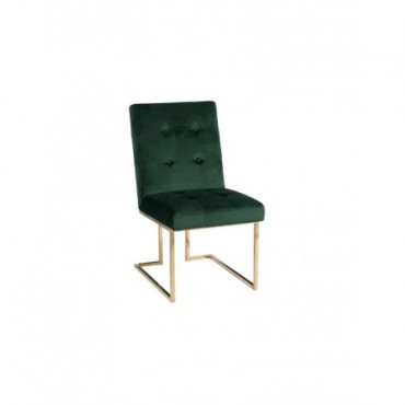 Chaise Velours Vert Metal Or