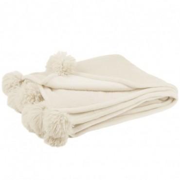 Plaid Pompon Polyester Beige Clair