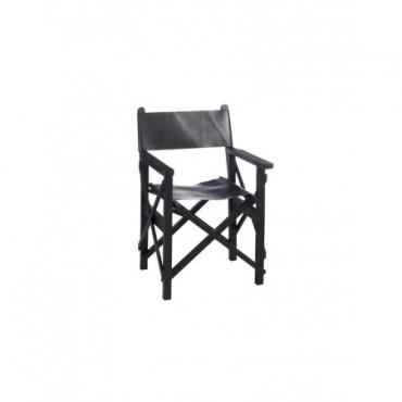 Chaise Regisseur Pliante Bois Cuir Noir