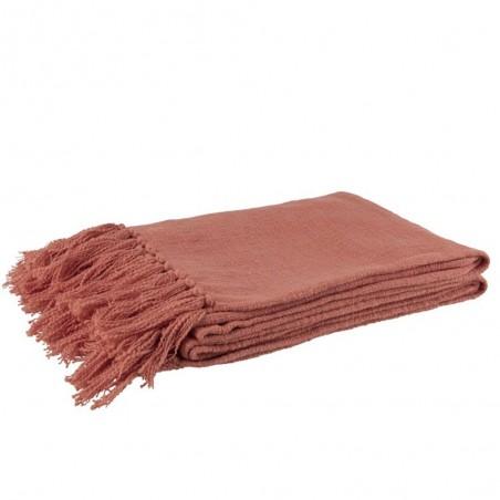 Plaid Crochete Pompons Coton Rose