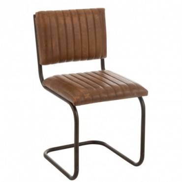Chaise Moderne Cuir/Metal Cognac