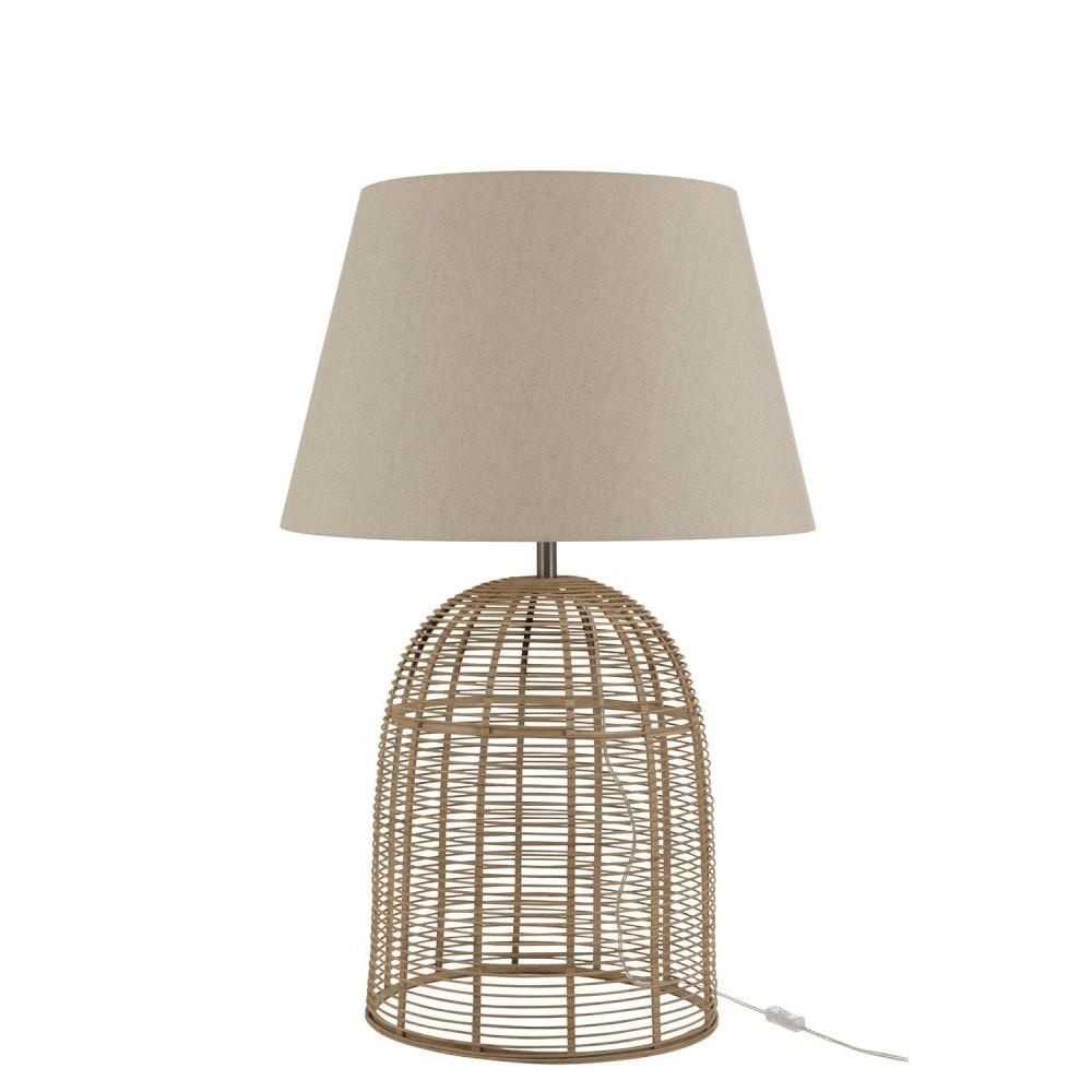 Pied De Lampe + Abat-Jour Barres Bambou Naturel Large
