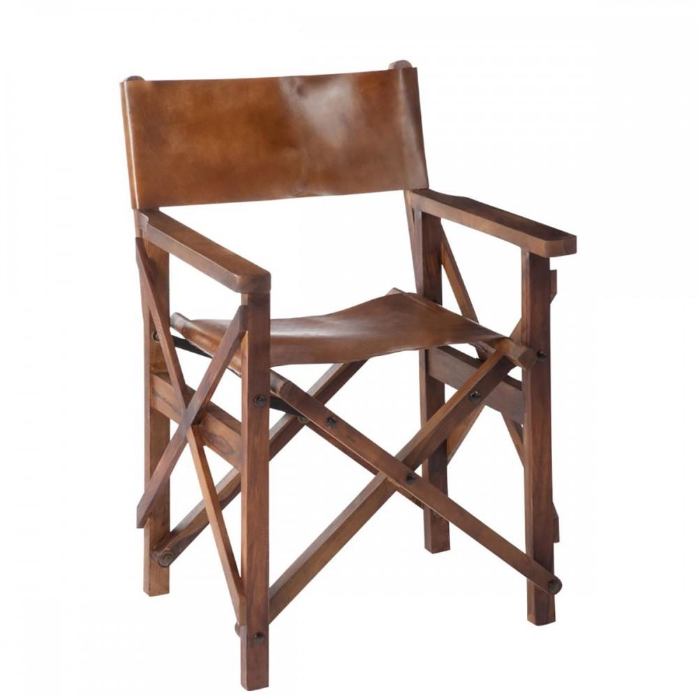 Chaise De Regisseur Pliable Bois Cuir Cognac