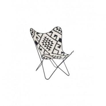 Chaise Lounge Jute Metal Noir Blanc