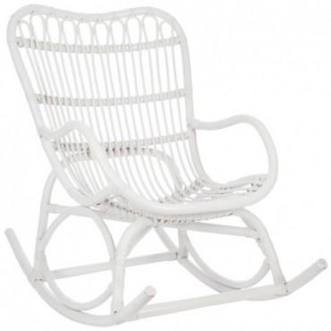 Rocking chair Rotin Blanc Mat