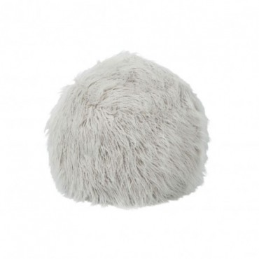 Pouf Poils Longs Fourrure Artificielle Gris