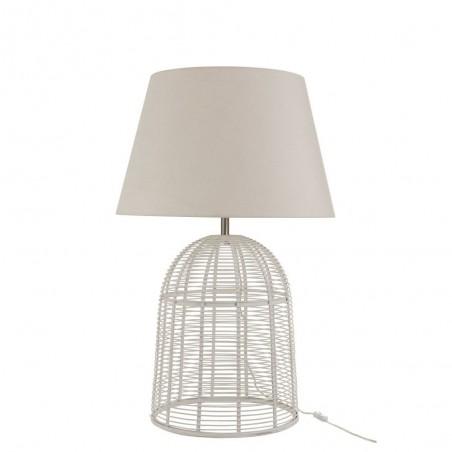 Pied De Lampe + Abat-Jour Barres Bambou Blanc Large