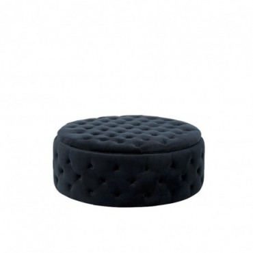 Pouf Rond Boutons Wilson Velours Bouleau Anthracite