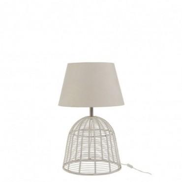 Pied De Lampe + Abat-Jour Barre Bambou Blanc Small