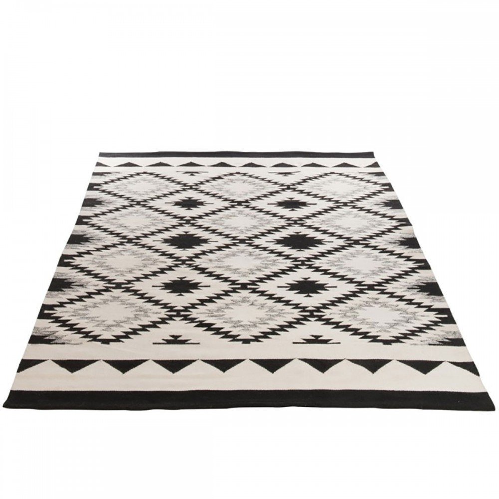 Tapis Rectangulaire Ethnique Coton Noir Blanc