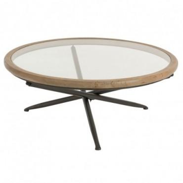 Table Ronde Bois/Verre Marron Taille L