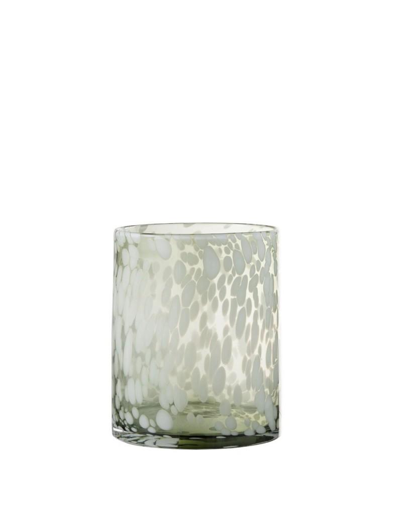 Photophore Tache Decoratif Verre Vert/Blanc Small