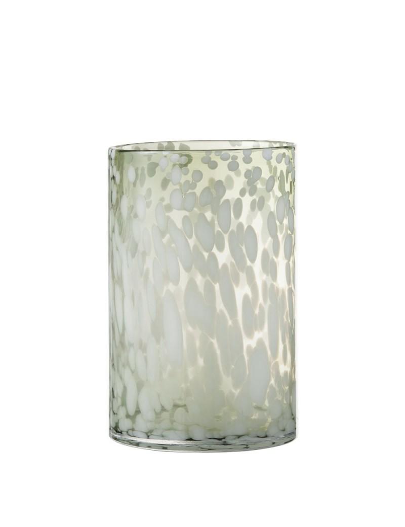 Photophore Tache Decoratif Verre Vert/Blanc Large