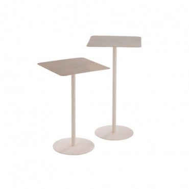 Set De 2 Table Gigogne Carree Metal Laque Rose Clair