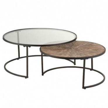 Set De 2 Tables Gigognes Rondes Metal Noir
