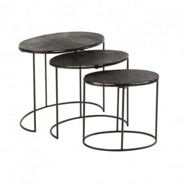 Set De 3 Table Gigogne Effet Jute Aluminium Noir