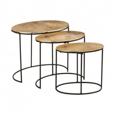 Set De 3 Table Gigogne Effet Jute Aluminium Or
