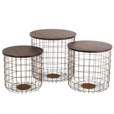 Set De 3 Table Gigogne Panier Metal Rouille